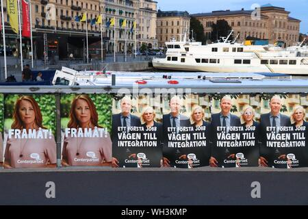 STOCKHOLM, SWEDEN - AUGUST 22, 2018: Centerpartiet (Centre Party) political posters before Swedish general election (scheduled for September 9, 2018). - Stock Photo