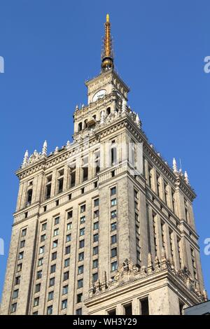 WARSAW, POLAND - SEPTEMBER 8: Palace of Culture and Science on September 8, 2010 in Warsaw. The palace is an example of stalinist architecture and is - Stock Photo