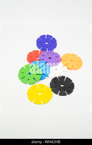 Colourful pieces of round puzzle. Concept of process completion. Copy space. - Stock Photo