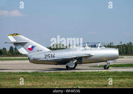 Mig 15 UTI, two-seater version in the colors of the Czechoslovak Air Force, aircraft from the 1950s - Stock Photo