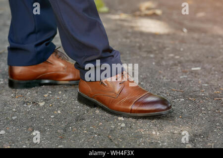 stylish brown men's shoes close up - Stock Photo