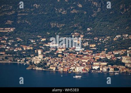Malcesine, on Lake Garda, seen from Montecastello in Tignale - Stock Photo
