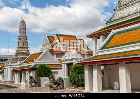 Big Thai style stupa (chediI) at Wat Thepthidaram, Bangkok, Thailand. - Stock Photo