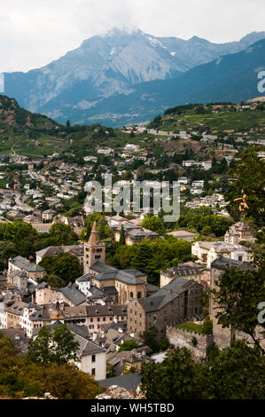 Looking down over Sion, capital of Canton Valais, Switzerland, from the Chateau de Valere - Stock Photo