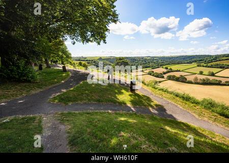 Summer View From Castle Hill, Great Torrington, Looking Over the Torridge Valley, RHS Rosemoor and Fields,Towards Beaford: Great Torrington, Devon, UK - Stock Photo