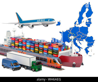 Cargo shipping and freight transportation in the European Union by ship, airplane, train, truck and van. 3D rendering - Stock Photo