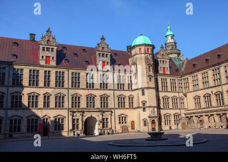 castle with royal chambers in Helsingor , Denmark - Stock Photo