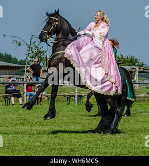 Schloss Hof Großes Pferdefest 2019 Great Equestrian Show at Schloss Hof Castle with two women riding on a side saddle - Stock Photo