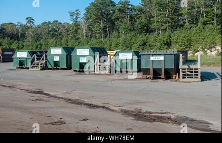 Single Stream Recycling containers for glass, plastic, paper at Bourne Integrated Solid Waste Management facility on Cape Cod, Massachusetts USA - Stock Photo