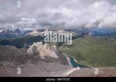 Dolomites Mountains Seen From Mt Marmolada During Winter - Stock Photo