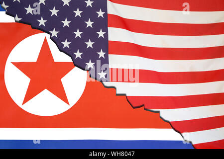 Full Frame Shot Of North Korean And American Flags - Stock Photo
