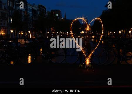 Heart Shape Light Painting At Night
