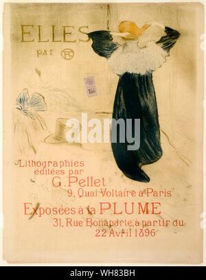 Henri de Toulouse Lautrec, Poster for the 'Elles' exhibition in Paris, April 1896, poster, 1896 - Stock Photo