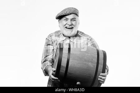 Man bearded senior carry wooden barrel for wine white background. Fermentation product. Natural wine made out of organic grapes. Winery concept. Homemade wine. Producing wine family tradition. - Stock Photo