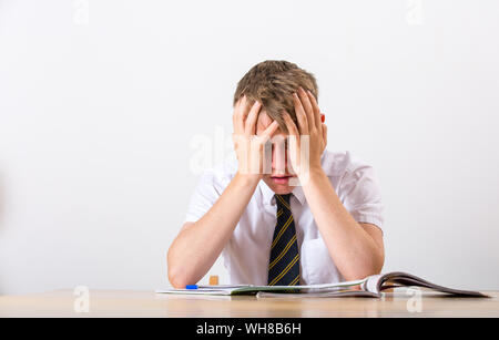 A stressed school pupil with his head in his hands sat at his desk - Stock Photo