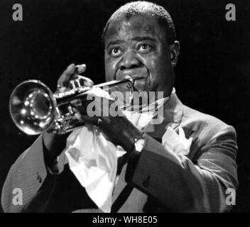 Louis Satchmo Armstrong (1901-1971) playing the trumpet in 1965.. . - Stock Photo