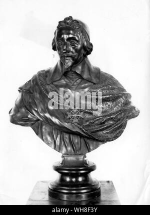 Bust of Cardinal Armand Jean du Plessis de Richelieu (1585-1642) French Cardinal and Politician.. .  . - Stock Photo