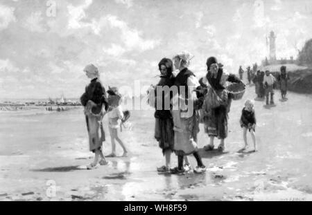 Title: The Oyster Gatherers of Cancale 1878. Artist: John Singer Sargent (1856-1925). - Stock Photo