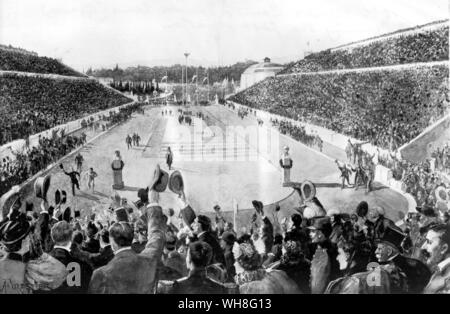 The first modern day Olympic Games in 1896. Spindon Louis (Greece) winning the first marathon.. . . - Stock Photo