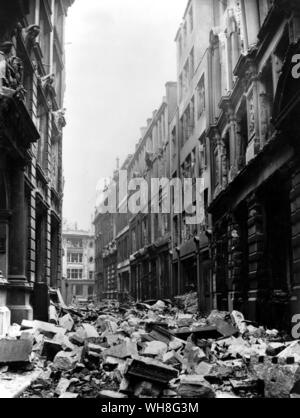 Mincing Lane after the Blitz, Second World War. - Stock Photo