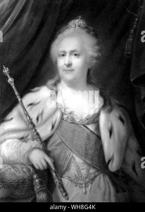 Catherine II Empress and Autocrat of all the Russias, (Catherine the Great) (1729-1796). Catherine reigned as Empress of Russia from June 28, 1762 until her death. The Romanovs by Virginia Cowles, page 86.. - Stock Photo