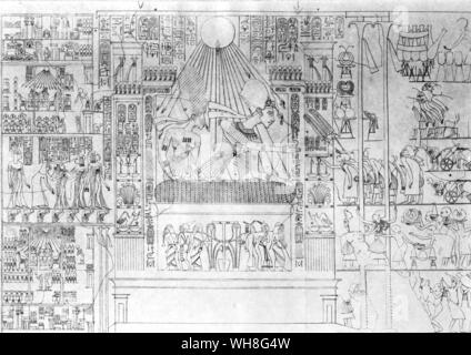 Akhenaten and Nefertiti at the Great State Window of their palace. On the left are the royal princesses and a plan of the palace (Tomb of Pernefer). Nefertiti was the wife of the Egyptian Pharaoh Amenhotep IV (later Akhenaten), and mother-in-law of the Pharaoh Tutankhamen. Tutankhamen by Christiane Desroches Noblecourt, page 144. - Stock Photo