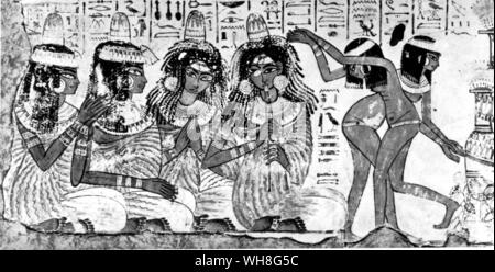 Painted Relief. Singing and dancing: a scene from the walls of a Theban chapel. Tutankhamen by Christiane Desroches Noblecourt, page 45. - Stock Photo