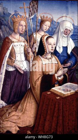 Anna praying by Jean Bourdichon (1457-1521). Book of Hours of Anne of Brittany, page 297. Anna of Brittany (1477-1514) was also known as Anna of Brittany and Anne de Bretagne. Born in Nantes, France and was the daughter of Francis II, Duke of Brittany and Margaret of Foix.. - Stock Photo