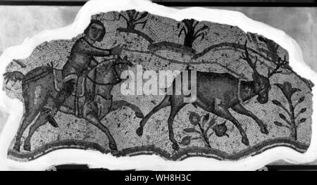 Stag Hunting and Buck Hunting. Mosaic scene from Carthage, 500 AD. From Encyclopedia of the Horse page 301. - Stock Photo