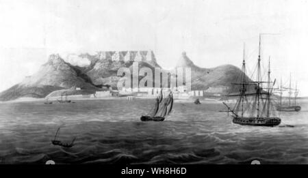 A view of Cape Town and Table mountain at the end of the eighteenth century. The African Adventure - A History of Africa's Explorers by Timothy Severin, page 135. - Stock Photo