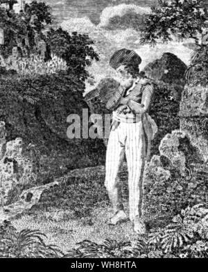 Mr James Bruce (1730-1794) Scottish traveller and travel writer, contemplating the source of the Nile, from a popular chap book. The African Adventure - A History of Africa's Explorers by Timothy Severin page 107.. . - Stock Photo