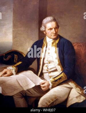 Captain James Cook (1728-1779), by Nathaniel Dance . (1735 -1811) c.1775. From Antarctica: The Last Continent by Ian Cameron, page 36..      James Coo - Stock Photo