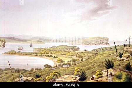 Entrance to Port Jackson, from Darwin and the Beagle by Alan Moorhead, page 241.. HMS Beagle set off on its third voyage in 1837 to survey large parts of the coast of Australia under the command of Commander John Clements Wickham, with assistant surveyor Lieutenant John Lort Stokes, who had been a Midshipman on the first voyage of the Beagle. They started with the western coast between the Swan River (modern Perth, Australia) and the Fitzroy River, Western Australia, then surveyed both shores of the Bass Strait at the southeast corner of the continent. In May 1840, the Beagle left Sydney to - Stock Photo
