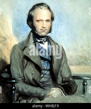 Charles Darwin in 1840. Watercolour by George Richmond (1809 -1896). From Darwin and the Beagle by Alan Moorhead, page 23. - Stock Photo