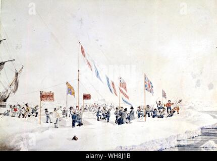 Celebrating New Year's Day 1842, on the ice floes in latitude 66 deg 32 min S, longitude 156 deg 28 min W, by John Edward Davis (1815-77). From Antarctica: The Last Continent by Ian Cameron, page 100. - Stock Photo