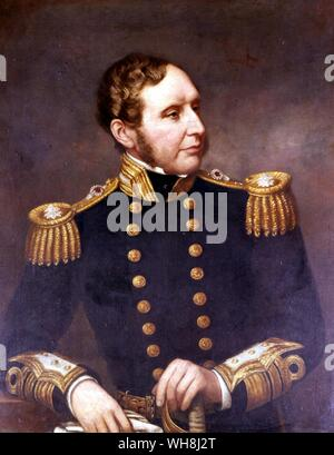 Robert FitzRoy (1805-1865), after his promotion to Vice-Admiral, by Francis Lane. From Darwin and the Beagle by Alan Moorhead, page 24..    FitzRoy ac - Stock Photo