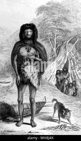A man of the Tekeenica tribe. 'Their colour is that of a very old mahogany, or rather between dark copper and bronze. The trunk of the body is large, in proportion to their cramped and rather crooked limbs.' (Quote). From Darwin and the Beagle by Alan Moorhead, page 101.. His encounter with the natives of the Tierra del Fuego on his Beagle voyage made Darwin believe that civilization had evolved over time from a more primitive state. - Stock Photo