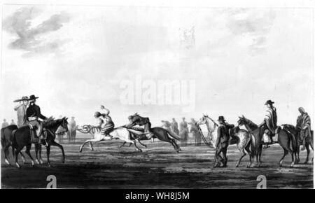 A horse race. From Darwin and the Beagle by Alan Moorhead, page 115. - Stock Photo