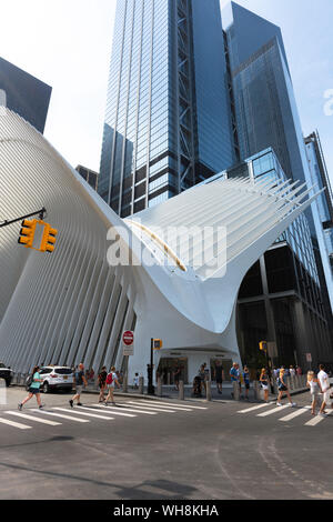 New York Oculus, view of the exterior of the Oculus shopping mall and transportation hub in Lower Manhattan, New York City, USA - Stock Photo