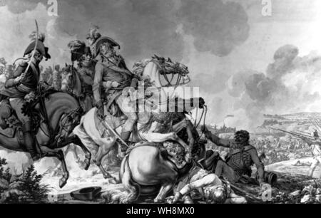 The death of General Desaix at the Battle of Marengo, 14 June 1800, while leading the counter-attack that saved Bonaparte from defeat. Wash painting by Jacques Francois Fontaine called Swebach. Copyright Reserved. - Stock Photo