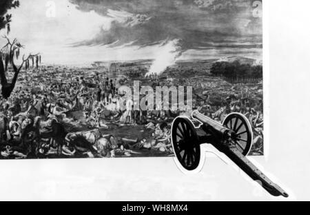 The morning after Waterloo. engraving after a painting by heavyside. Bonaparte's escape from Elba had cost Europe in all over 60,000 men killed and maimed. Radio Times Hulton Picture Library. (insert) A British 6-pounder field gun employed at Waterloo. Royal Military Academy, Sandhurst. Photo: National Army Museum, London. - Stock Photo