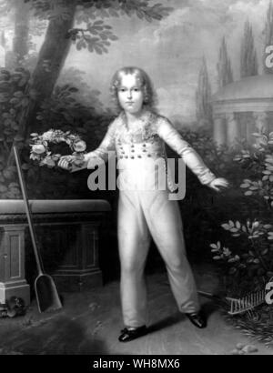 Bonaparte's son by Marie-Louise, Francois-Charles-Josephm, King of Rome (1811-32), at the age of six. Aftrer 1814 he lived in Austria under the title of Duc de Reichstadt. Painting by Carl von Sales. Kunsthistorisches Museum, Vienna - Stock Photo