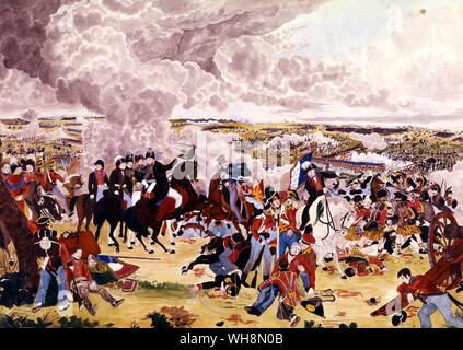The climax of the Battle of Waterloo, 18 June 1815 - Wellington orders the allied army to advance after the repulse of the Imperial Guard by the English Foot Guards. Painting by John Augustus Atkinson, who was an eyewitness. Bibliotheque Nationale, Paris - Stock Photo