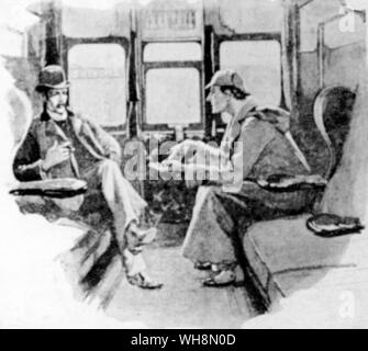 Crime Fiction Sherlock Holmes and Dr Watson an illustration by Sidney Paget from The Strand Magazine in which the stories first appeared - Stock Photo