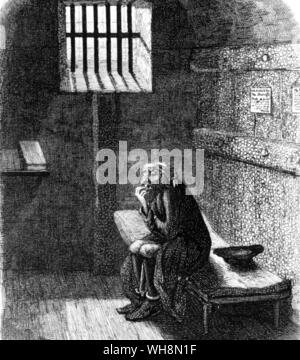 Crime in Literature Fagin in the condemned cell: George Cruickshank's illustration in Dicken's Oliver Twist . Fagin in the condemned cell from Charles - Stock Photo