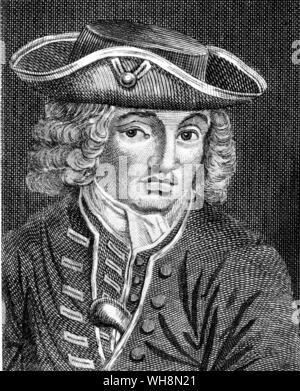 Jonathan Wild 1682-1725 thief taker and ringleader from a portrait in the Newgate Calendar - Stock Photo