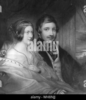 Queen Victoria and Prince Albert drawn from life in the Royal Box at the Italian opera in their first year of marraige - Stock Photo