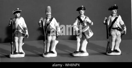 Porcelain soldiers from a set presented by Frederick to the Tsarevich Peter of Russia and made by J. J. Kandler of Meissen, 1740-45 - Stock Photo