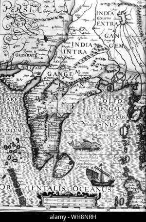 Mercator's cramped version of India, from the edition which Roe presented to Jahangir - Stock Photo