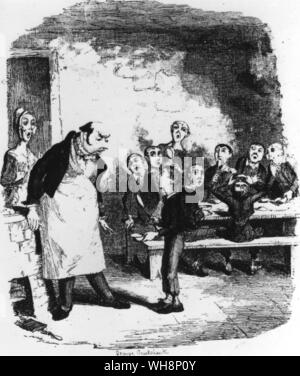 'Oliver Twist asks for More' original illustration by George Cruikshank from first edition 1839 - Stock Photo